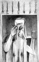 Ο κακός ζωγράφος κλαίει και περιμένει, μολύβι σε χαρτί, 100 X70 εκ